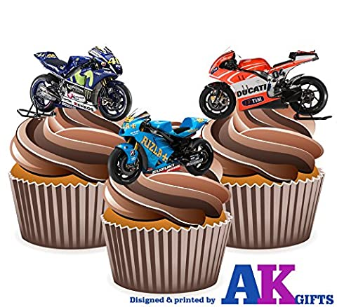 Moto GP Motorbikes Ducati Suzuki Yamaha Mix 12 Edible Wafer Cup Cake Toppers Decorations