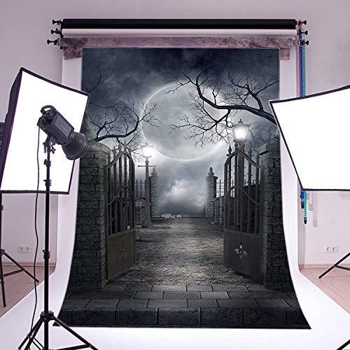 JoneAJ 10X10FT 300X300cm Gotischer Hintergrund Happy Halloween Horror Nacht Glänzender Mond Haunted House Metal Gate Düstern Ziegelboden Vinyl Fotografie Hintergrund Erwachsene Maskerade AP28