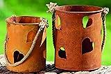 1 x Windlicht Herzilein Eisen rost Höhe 21 cm, Beleuchtung, Sommer, Garten, Tischdeko, Terasse