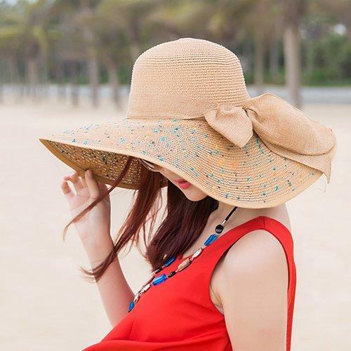 Upper-Dame le pliage d'un chapeau de paille Beach Hat chapeau de soleil coffee