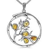 Lebensbaum Ast Weltenbaum Anhänger 925er Silber Bernstein Schmuck Amulett Medaillon 5,5 g Silberschmuck #b1348