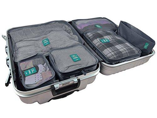 BlueBeach® Satz von 6 Reise Kleidertaschen Verpackungswürfel organizer Wäschesack Gepäck Kompressionstaschen Tasche in Tasche Taschenorganizer für Kleidung und Schuhe