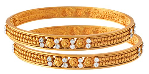 JFL - Traditional Ethnic One Gram Gold Plated Diamonds Designer Bangle Set for Women & Girls.