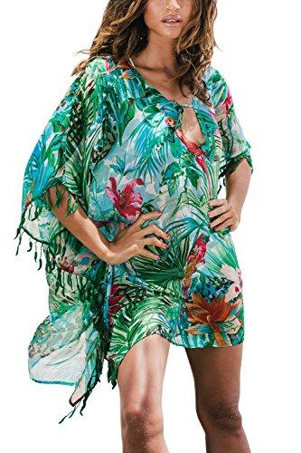 Walant Damen Chiffon Streifen Strandkleid Bikinikleider Elegant (Einheit, Grün1)