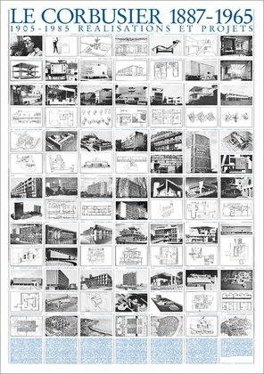 Reproduktion Le Corbusier (Le Corbusier Realisations et projets Architektur Plakat Poster Kunstdruck Bild 100x70cm)