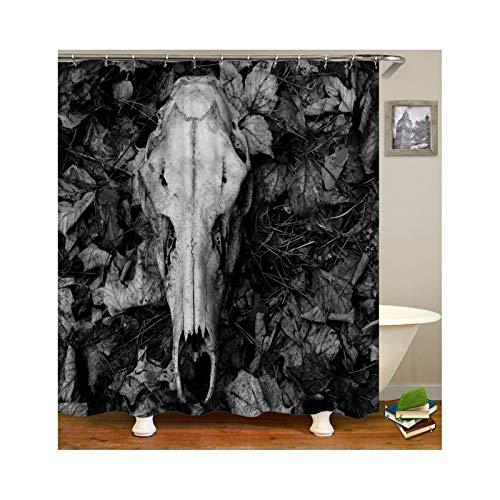 Knbob Polyester Duschvorhang Totenkopf mit 12 Duschvorhangringen