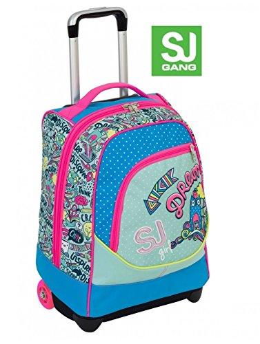 Trolley big - sj gang girl - rosa azzurro - 33 lt uso zaino - spallacci a scomparsa totale - scuola e viaggio