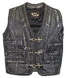 Rockerweste, Lederweste im vintage style, Lederkutte Antique braun, Kutte, Clubweste, (5XL)