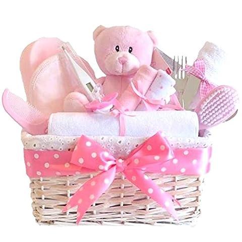 Angel DELUXE White Wicker Baby Girl Gift Basket / Baby Hamper / Baby Shower Gift / New Arrival Gift / Baby Keepsake / FAST