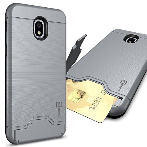 Samsung Galaxy J32018Fall, Express Prime 3/J3Star/J3Prime 2/AMP Prime 3/Eclipse 2J3/Aura/Galaxy Erreichen Fall, coveron [securecard Serie] Hybrid Phone Cover w/Card Halter, Gunmetal Gray (Phone Cricket Wireless Card)