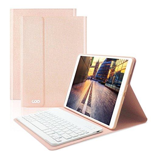 COO iPad Hülle Tastatur QWERTZ für 9,7 Zoll iPad 2018/2017, iPad Pro 9.7, iPad Air 2/1, iPad Bluetooth Keyboard Case mit Mulit-Angle- Ständer-Funktion Und mit Auto Schlaf/Wachen(Champagner Gold)