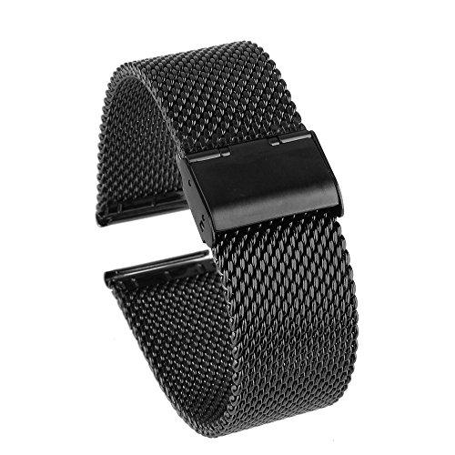 Beauty7-22mm Schwarz Herren Modeschmuck Milanaise Maschen Edelstahl Uhrenarmband Gerade Anstoß Watchband mit Faltschließe
