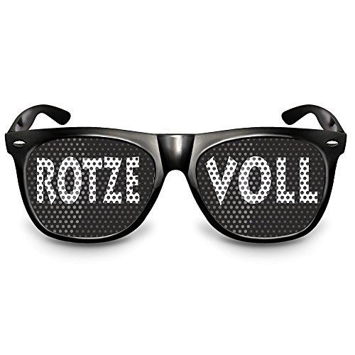 """COOLEARTIKEL Karneval / Fasching Party-Brille Spaß-Brille mit Motiv """"Rotze Voll"""", bedruckte Sonnenbrille als lustiges Accessoire für dein Kostüm (Nerdbrille schwarz)"""