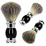 Pennello da barba GRUTTI 100% Pure Badger Hair Mental Handle Pennello da barba per uomo (Silver-Black) per Wet Shaving