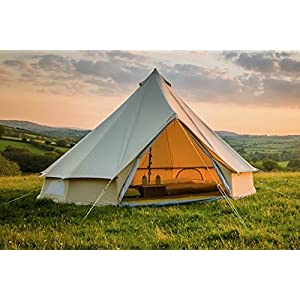 5m bell tent zipped in groundsheet 100% cotton canvas family glamping garden camping tent grey or sand