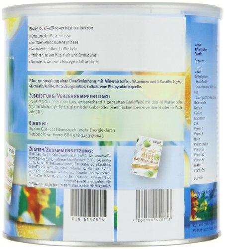 for you Power Eiweiß nach Strunz I Fitness Eiweisspulver mit Carnitin Whey-Protein Sojaprotein Milchprotein I Biologische Wertigkeit 156 I Mehrkomponenten Protein Eiweißpulver Vanille Geschmack 750g