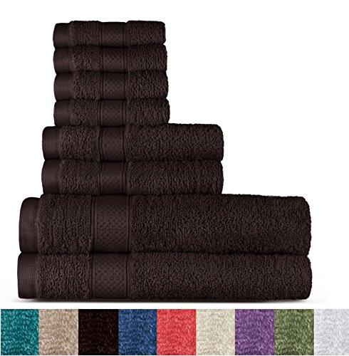 Welhome Aus 100% Baumwolle 8 Stück Tuchsatz (Schokolade); 2 Badetücher, 2 Handtücher und Waschlappen 4, maschinenwaschbar (Schokolade Rosa Und Bettwäsche)