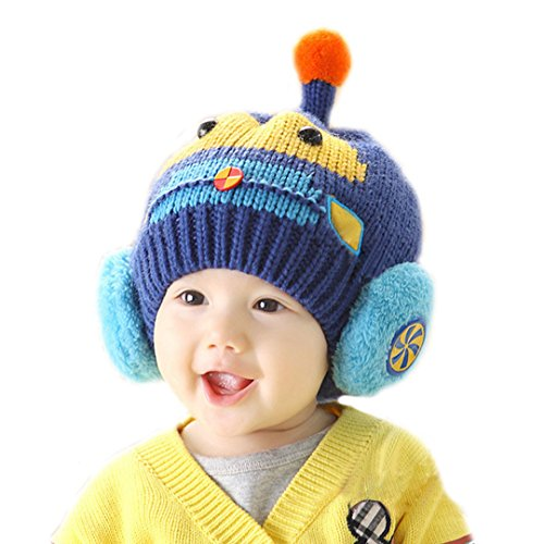AISI invierno bebé niñas niños gorro de lana con orejeras Knit Cap para niño  de 0.5 99a4ecbb99d