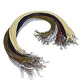 Magiin 100pcs Waxed Cuerda de Collar con Cierre de Corchete de 5 Colores Cordón de Collar Encerado para Joyería, DIY 2.0mm*20pulgadas