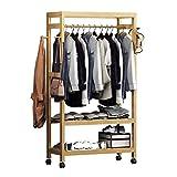 Panet Natürliche Garderobe aus Bambus, Einfacher Kleiderständer, freistehende Garderobe