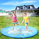 PELLOR Splash Spielmatte Outdoor Garten Wasserspielzeug Splash Pad Sprinkle Spaß Wassermatte Familienaktivitäten für Kinder, Hund (Blau)