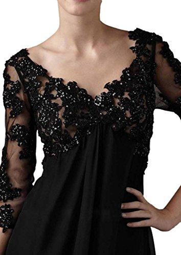 Milano Bride Elegant V-Ausschnitt Spitze Applikation Festkleider Brautmutter Kleider mit Aermel Lang Chiffon A-Linie Dunkel Flieder