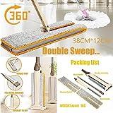 360 Grad Drehung Beidseitig Holz-Freisprecheinrichtung Waschen Flach Boden Staub Push Wischen Reinigung Tools ABS (Flacher MOP, Khaki)