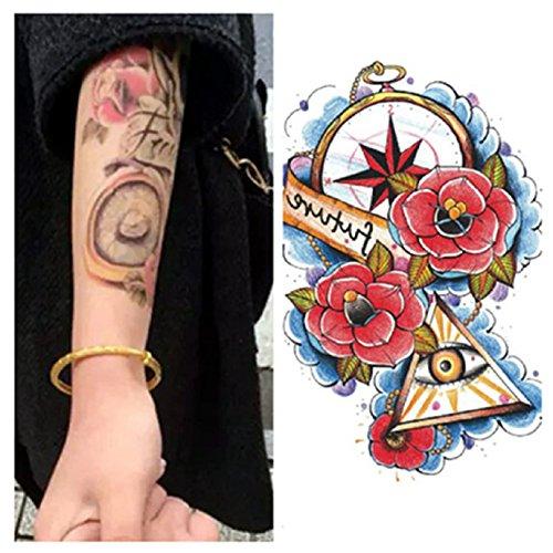 LZC 15x21cm tatuaggi tatuaggio temporanei impermeabile Adulti della spalla braccio grande e reale Decorazione del partito Vacanze Shoulder Tattoos Hombre y Mujer Uomo e donna Nero - Pink Triangle Occhio di Dio Eye of Providence All-Seeing Eye