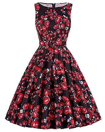 ZAFUL Damen Retro Elegante Cocktailkleider 50er Jahre Hepburn Ärmellos Abendkleid Swing Kleider-Schwarze Rose-S