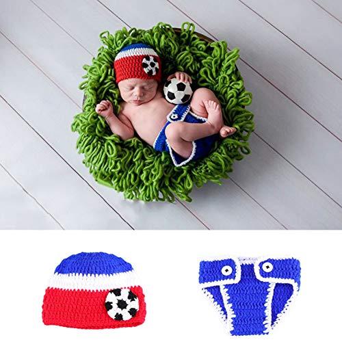 NROCF Fußball-Baby-Foto-Fotografie-Props-Kleidung, Blaue Und Weiße Rote Gestreifte Acrylfaser, Fußball-Logo, Fotografie-Props Der Kinder (Neugeborenes Baby Fußball Kostüm)