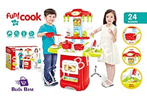 2017 NEW Buda Baby KIDS PRETEND KITCHEN PLAYSET ROLE PLAY FOOD COOKER PANS TOY GIFT--Electronic Light Sound Water Kitchen Red