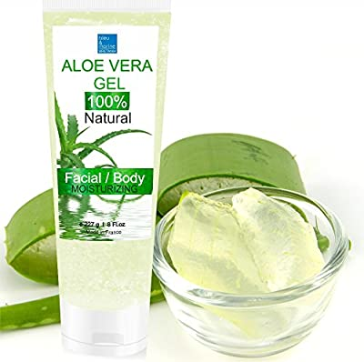 BEST AFTER SUN Organic Aloe Vera Gel - From Cold Pressed Aloe (Canary Islands) - 100% Natural Skin Care Treatment - Face, Body, After-Sun, After Waxing, After Shave, All Family and Pets First Aid 200 ml - Made in France from Made in France
