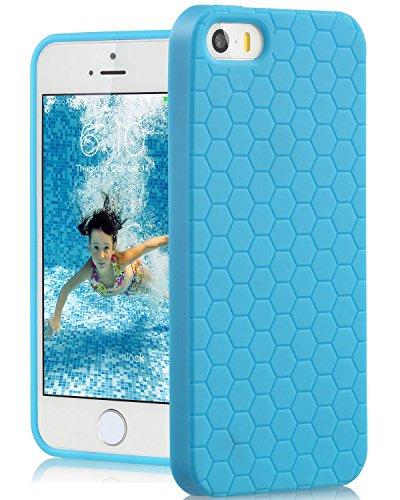 Fosmon DURA Honeycomb Entwurf TPU Case Cover hülle für iPhone 5 / 5s / SE - Weiß himmelblau