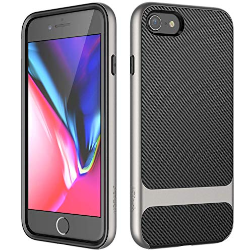 Jetech Case For Apple Iphone 8 And Iphone 7 2 Layer Slim Protective Cover Carbon Fiber Grey