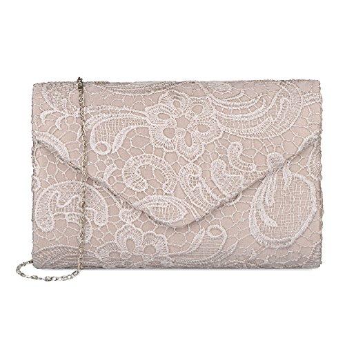 Baglamor Frauen Elegante Spitze Umschlag Clutch Geldbörsen Abend Prom Handtasche für Party und Hochzeit Anlässe (Handtasche Handtasche Prom)