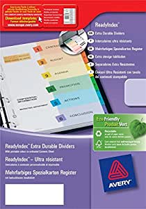 Avery Ready Index 20100403 Intercalaires numériques avec doubles colonnes en Carte A4 31 positions Assorties