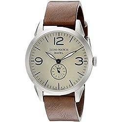 Zeno Herren 4772q-a9-1Vintage Line Edelstahl Uhr mit Braun Band