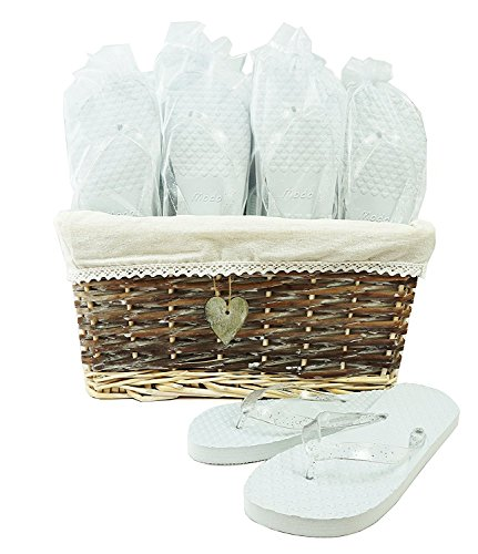 5864c0cee Modo Wedding Party Flip Flops in Wicker Basket - 20 Pairs
