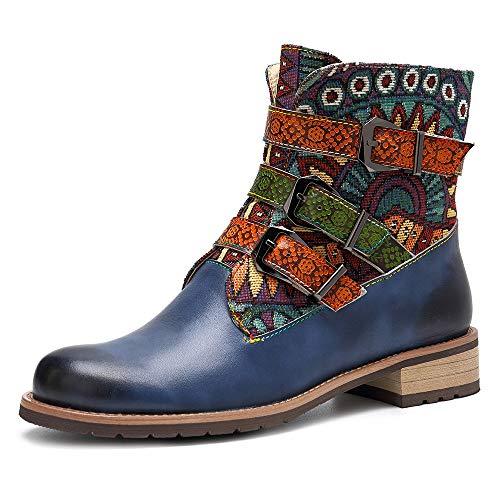 Seraph donne retrò stivali di cuoio della caviglia del cowboy cinghie fibbia zip signore stivaletti tacco piatto,blue,eu37