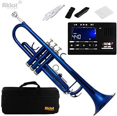 aklot BB principiante Marching Band Trompeta (cuerpo de latón chapado en plata boquilla con sintonizador