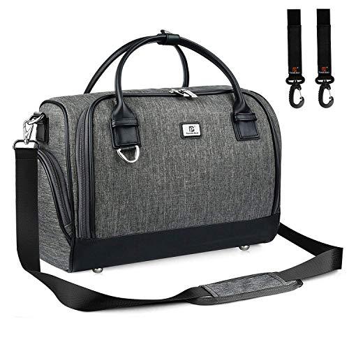 Wickeltasche Umhängetasche Große Kapazität mit Kinderwagen Haken und Wickelunterlage Multifunktionale Reisetasche für Unterwegs (Dunkelgrau)