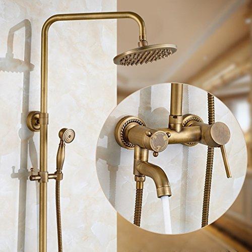 Messing Schlafzimmer-sets (MOMO Duschset Full Copper Shower mit Dusche Set Continental Badezimmer mit Handbrause Antique Wasserhahn mit heißen und kalten Retro-Dusche)