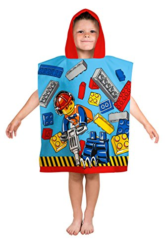 Character World 924Lizenz Lego City Cape Kapuzen-Badetuch Baumwolle Blau/Rot/Gelb 115x ()