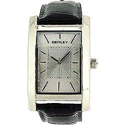 Analoge HENLEY Herren Armbanduhr mit texturiertem, silberfarbenem Ziffernblatt sowie schwarzem Kroko-Effekt Armband H01011