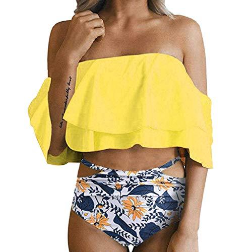 VECDY Damen Bikini Set Frauen Bikini Push Up Sexy BH Bademode Badeanzug Retro Beachwear Mit Hohem Mode Oberteil Bund Gepolsterter Badebekleidung + Badehose -