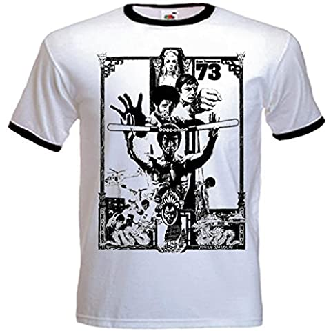 Urban Shaolin Men's Enter The Dragon Inspired Fitted T Shirt, Xtra Large, White With Black Trim