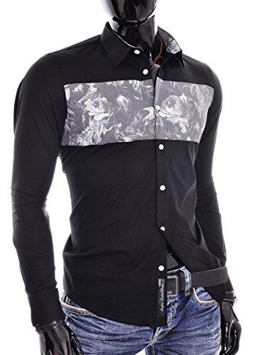 D&R Fashion Slim Fit Shirt Hommes avec Flower Chest et Finishings Surcharge Noir