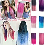 Autofor Newfangled Fashionable Multicolor Gradually Varied One Piece Straight Synthetic Clip-on Hair Extension 60cm Length,Multiple Choice (Straight, Rose Red to Dark Blue) by Onlyfo