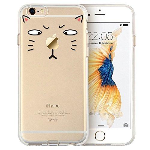 Blitz® Mania Series Transparent Weiche Silikon Schutzhülle TPU Bumper Case iPhone Ballon Mädchen iPhone 7 Dumme Katze