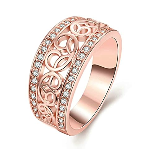 Beydodo 18K Rose Gold Plating Womens Scripture Ring Hollow Irregular Form White and Rose Gold Size P 1/2